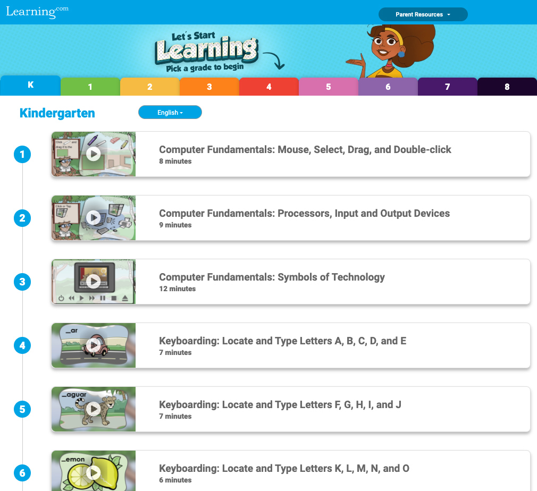 Screenshot of the digital skills playlist page