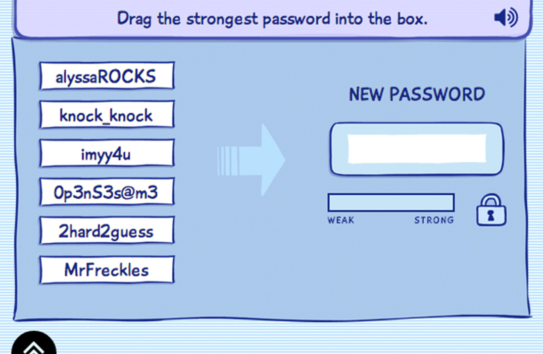 From our lesson on protecting personal data, a screenshot shows a prompt telling the student to select the strongest password from a list of password options.