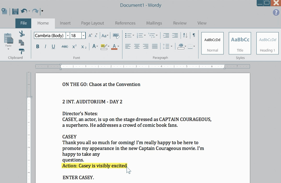 From our lessons on word processing, a screenshot shows a word processing app, similar to Word or Google Docs, that students use to learn formatting basics.